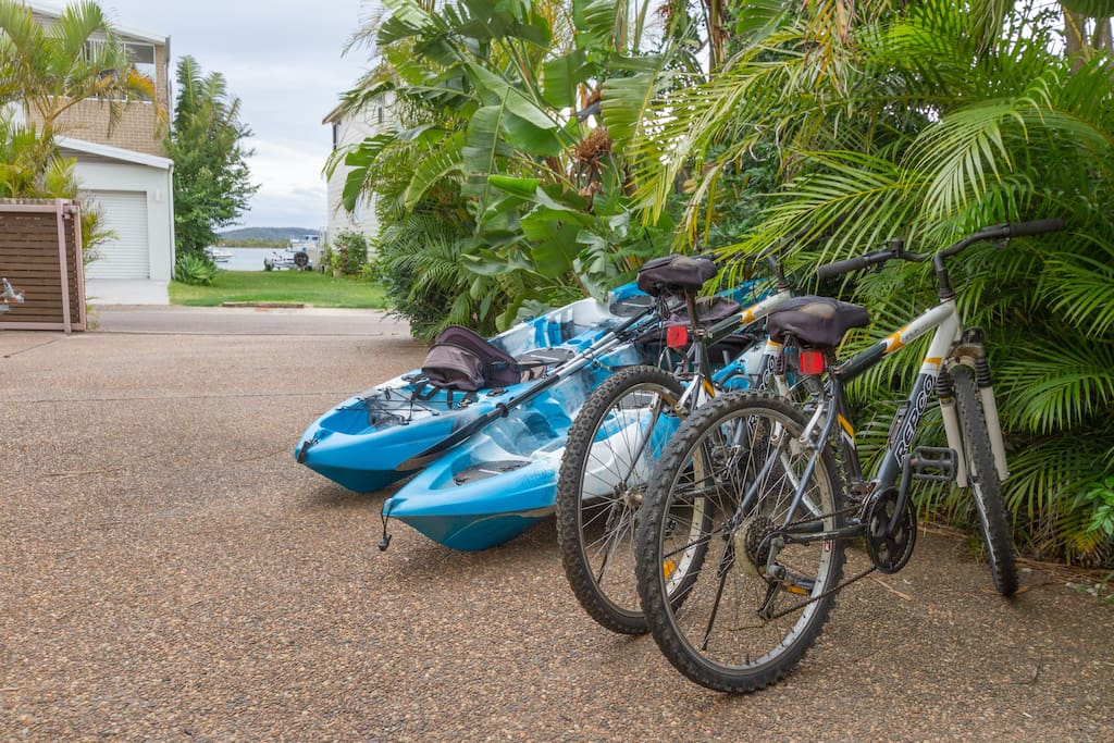 Bikes, kayaks, helmets, life jackets and a lovely spa lit with fairy lights await you.
