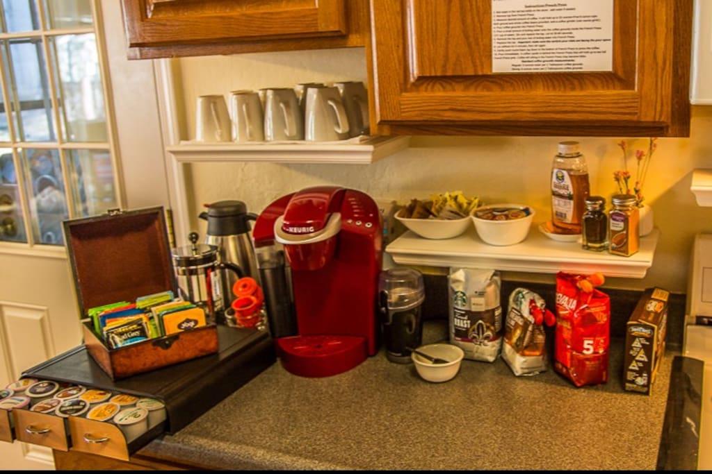 Coffee/Tea/Hot Chocolate station: Variety of coffees (some organic), teas & fixings plus yummy hot chocolate