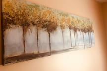 The tree painting in the guest room