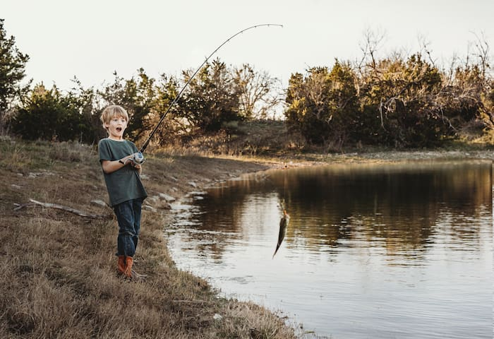 The Fishing pond beside the Main Lodge is stocked with Large Mouthed Bass and is full year round.