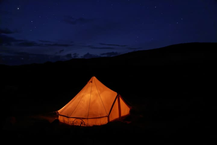 """Furnished Bell Tent """"Wild Glamping""""  on the NC500"""
