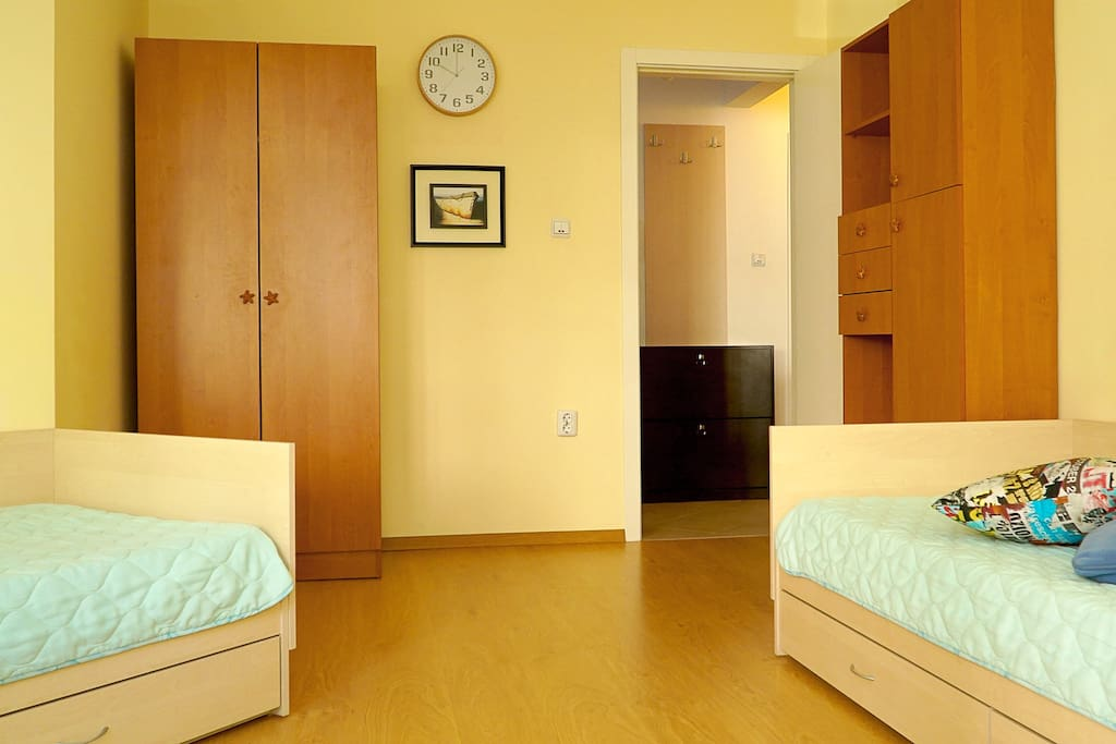 Room 1: two single beds; TV, Wi-Fi, work desk