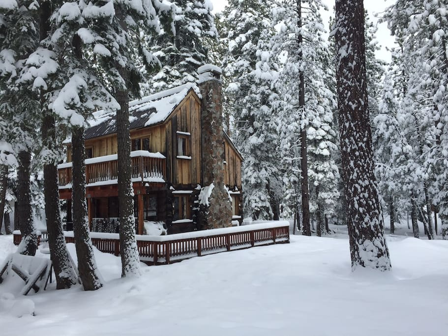 Tamarack Pines Classic Tahoe West Shore Cabin Winter Side View
