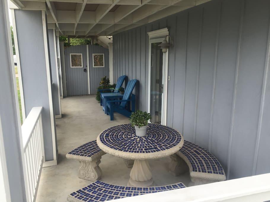 Relaxing patio.