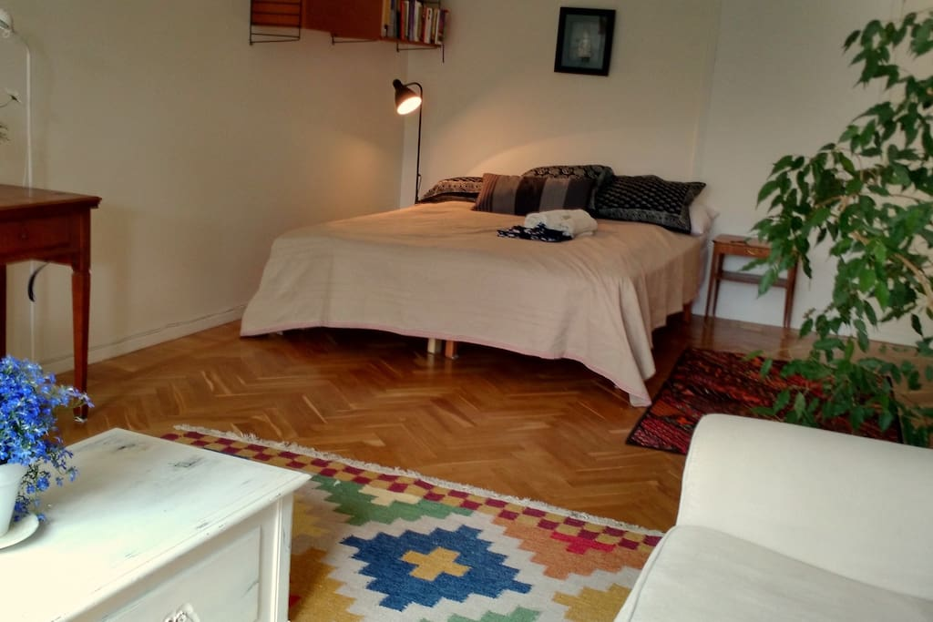 Spacious, light, airy room 28 sq metres, with private balcony.  Sofa, desk & comfortable chairs in your room.
