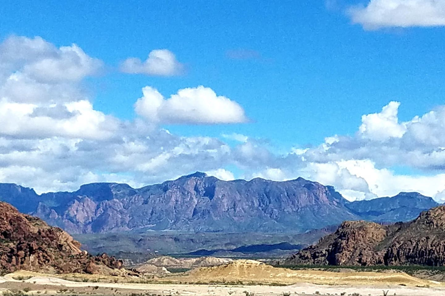 All campsites have this eastern view of the Chisos mountains