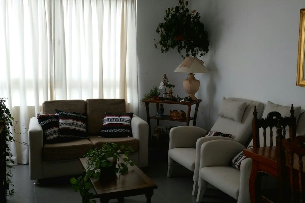 Living-comedor con sillones confortables y muy acogedor. Iluminado con un balcón del que podrás disfrutar los mejores atardeceres
