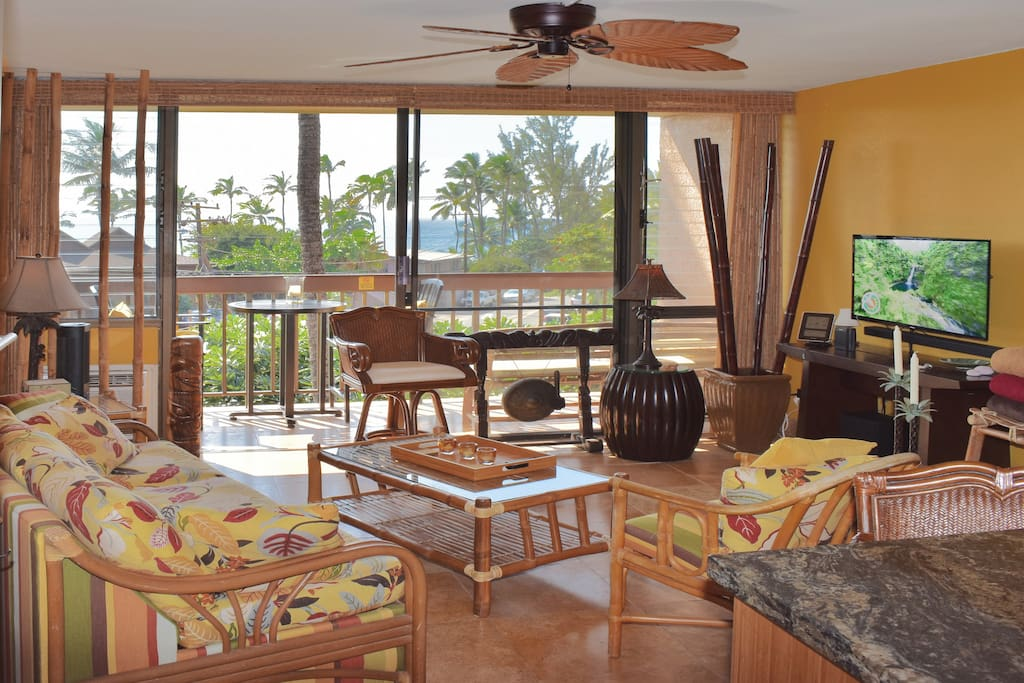 Living area has cozy tiki-style furnishings, including a pull-out couch, ceiling fan, and air conditioning