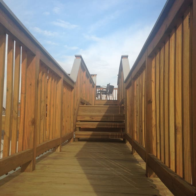 Walkway to rooftop deck