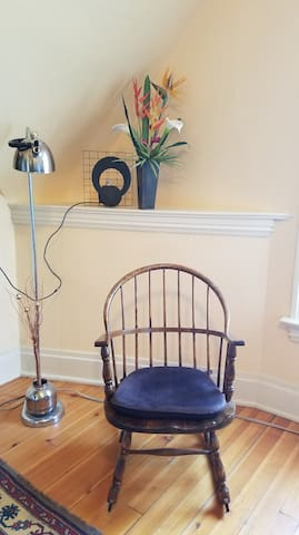 Rocking Chair in Bedroom with reading lamp