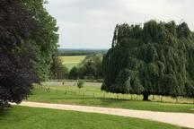 La vue depuis la maison, le parc et les Vosges au loin