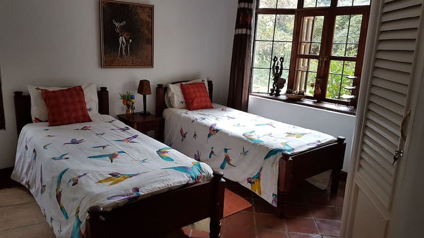 Twin bedroom with en suite bathroom and lush garden views all windows have mosquito netting to allow the cool breeze in but not insects