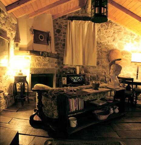La sala ha un grande divano, proprio di fronte al camino, sul quale accoccolarsi guardando il fuoco che scoppietta.  Il pavimento è fatto con vecchie tavole di castagno.