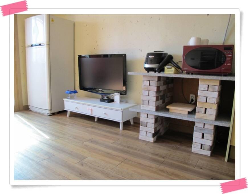 냉장고, TV, 밥솥, 전자렌지, 헤어드라이기