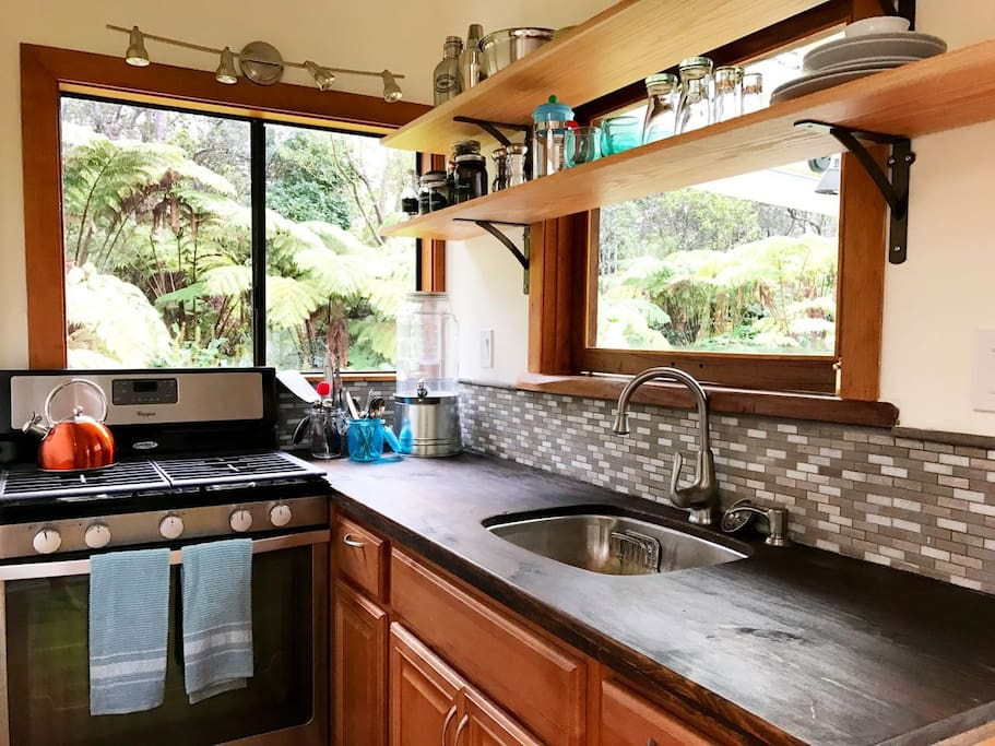 Stylish kitchen, complete with full size gas stove.