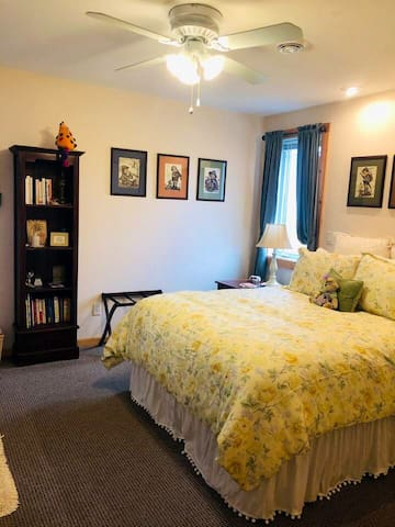 Bedroom includes queen mattress, extra soft mattress cover, linen sheets, cool max pillows, extra blankets & pillows, reading lights over the bed and room darkening window treatments.