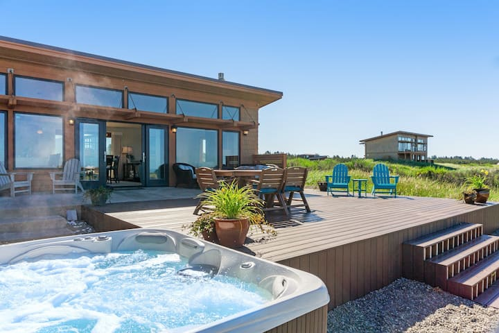 Dog-friendly, oceanfront beach home w/ a private hot tub & ocean views!