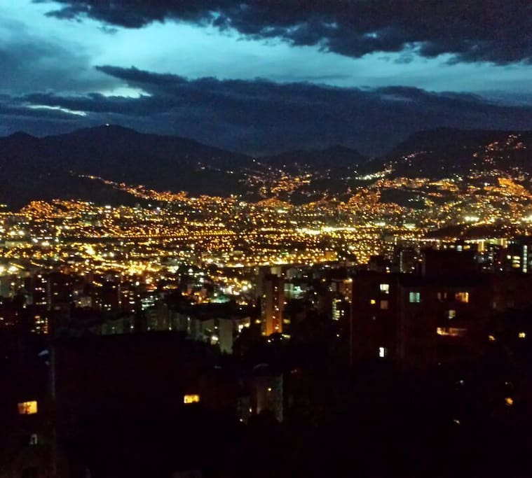 Night time view Medellin