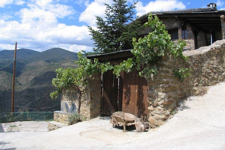 Panoramic views. Small village in the Pyrenees.