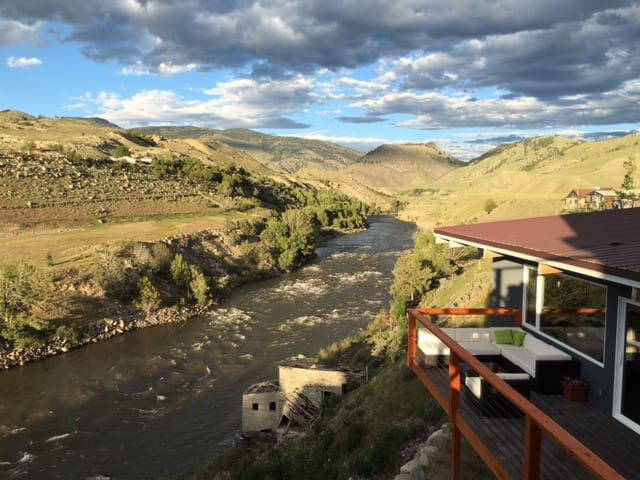 Relax and enjoy the view of our beautiful mountains, river and Yellowstone National Park from the 30ft. Deck.