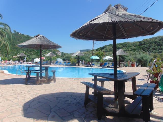 Paleokastritsa studios for 2 p with pool.