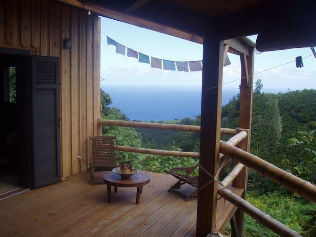 Chambre dans maison bois vue ravine et mer AVIRONS
