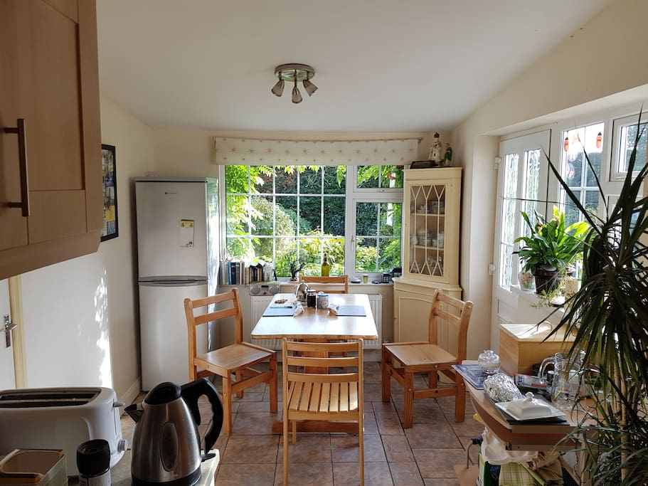 The kitchen, with a view out to the garden