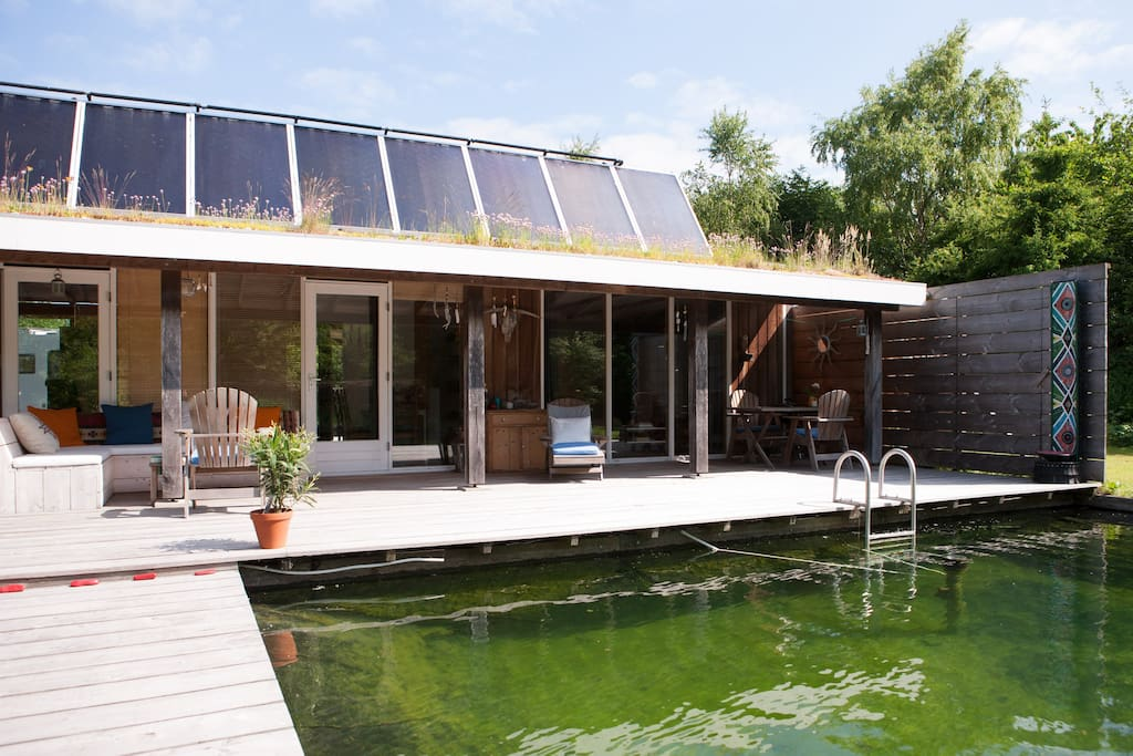 The studio, pond and terrace (solar collectors on the roof)