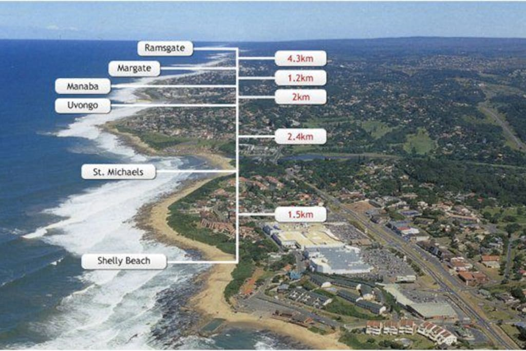 Shoreline and nearby towns. The resort is located in Uvongo close to St Michael's and Margate.