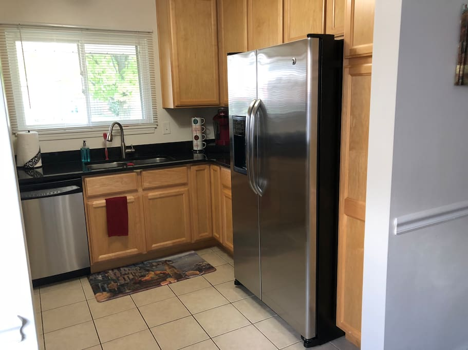 New stainless steel appliances and tons of cabinet space