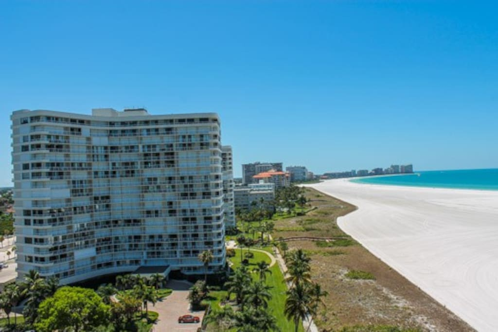 Side balcony view of Residents Beach and South Marco Beach