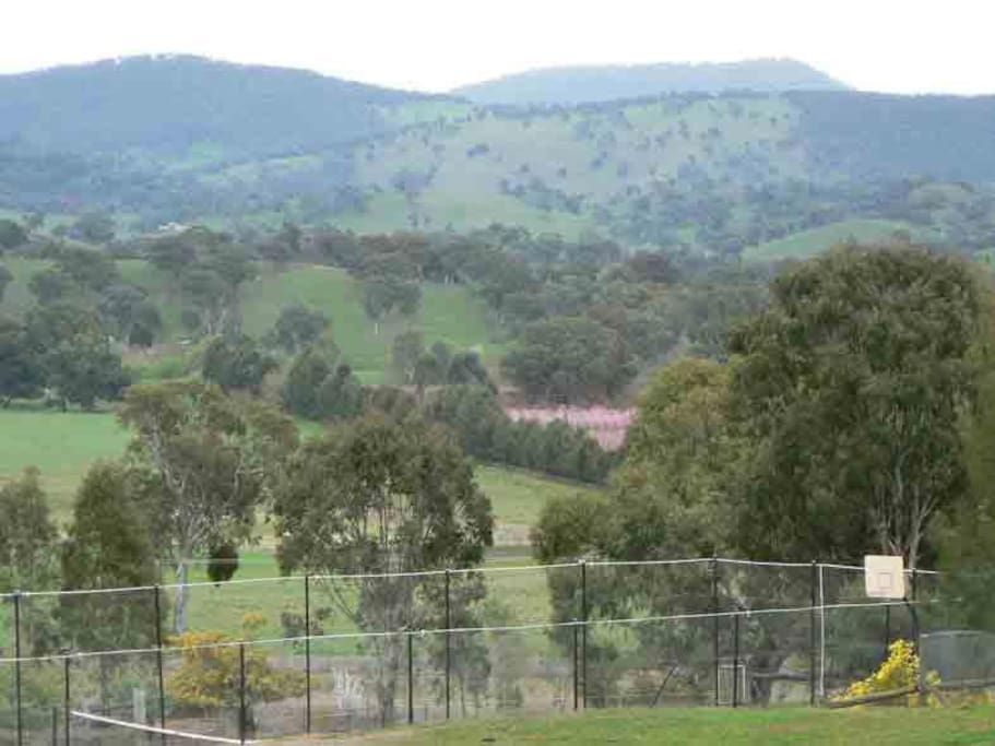 View of the valley and hills from our tennis court.