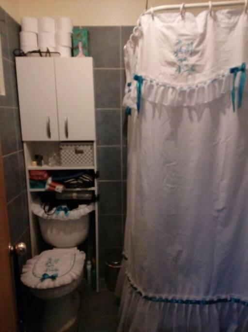 El baño ed con pie de ducha, y se debe compartir entre el viajero y yo.