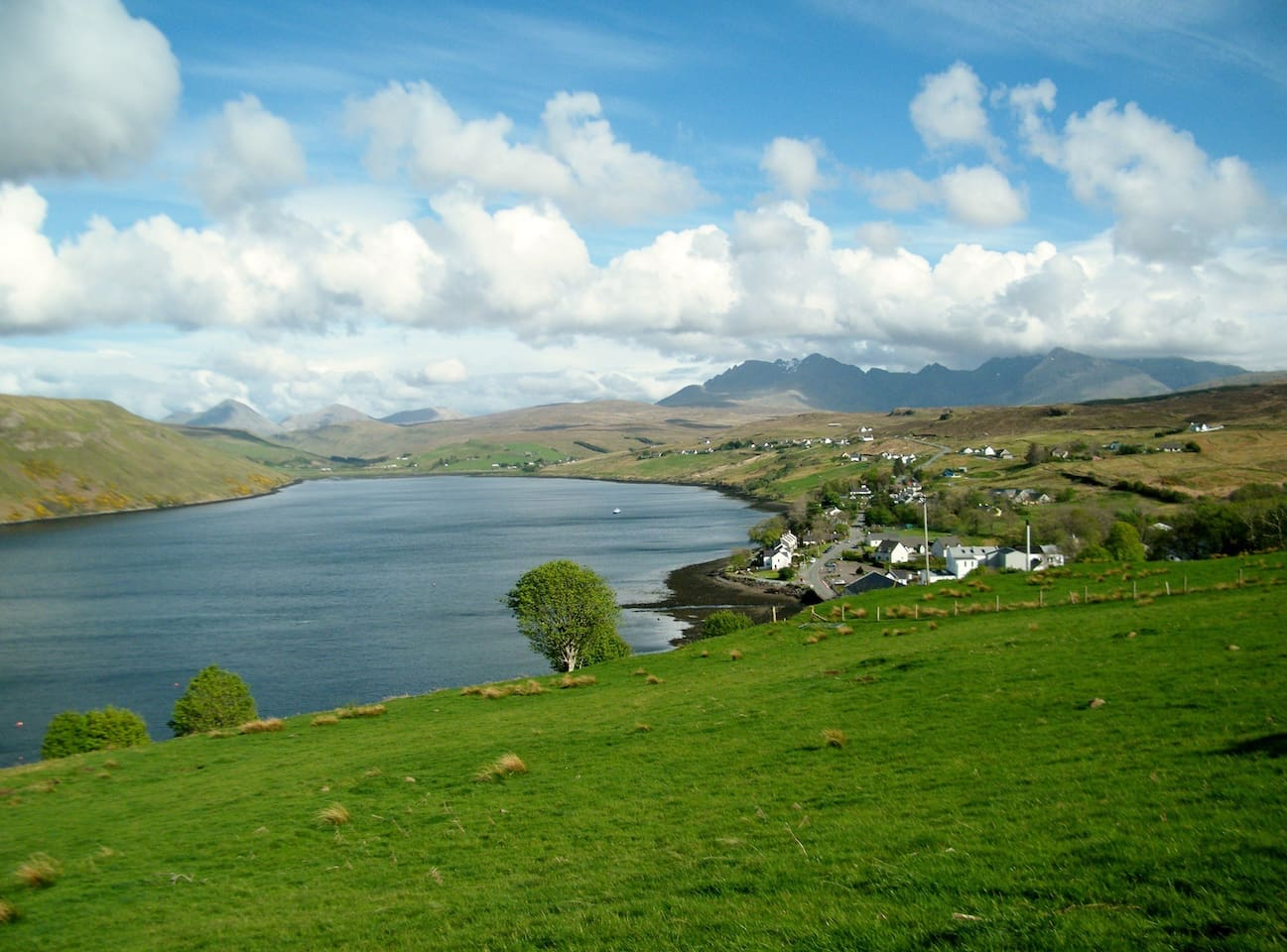 View of Loch Harport, Carbost and the Cuillin