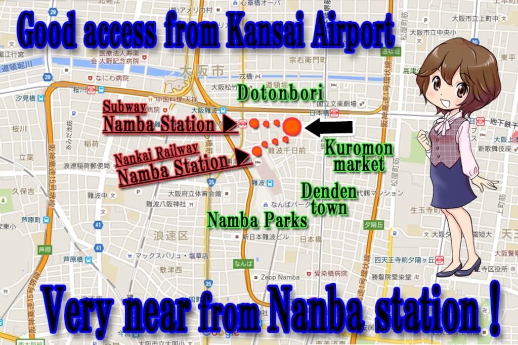 2 min walk from Station. 5 min walk from Namba Station.