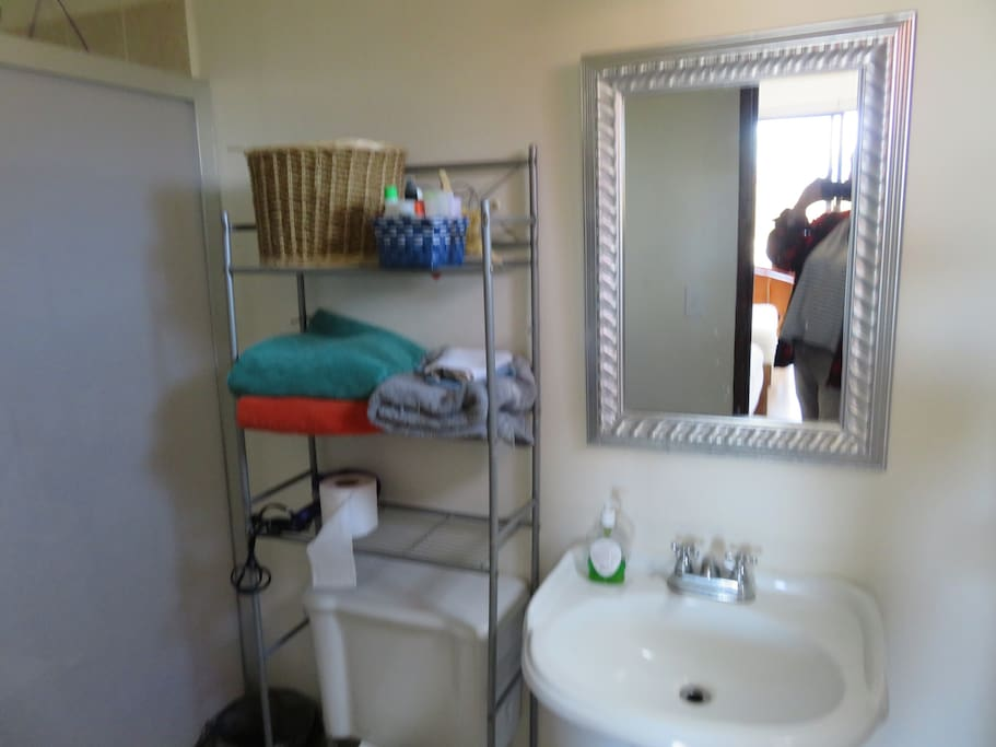 Bathroom is new and clean, shower, toilet and sink. Lots of towels, tp, hairdryer, nail polish remover, toothpaste etc