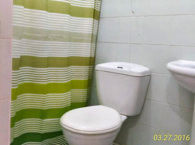 Flushing toilet, quite a novelty here.