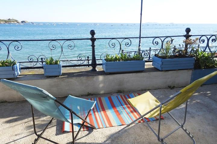 FRONT DE MER St Lunaire 2 P + Terrasse  + linge