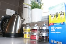 Free tea, coffee, sugar & milk