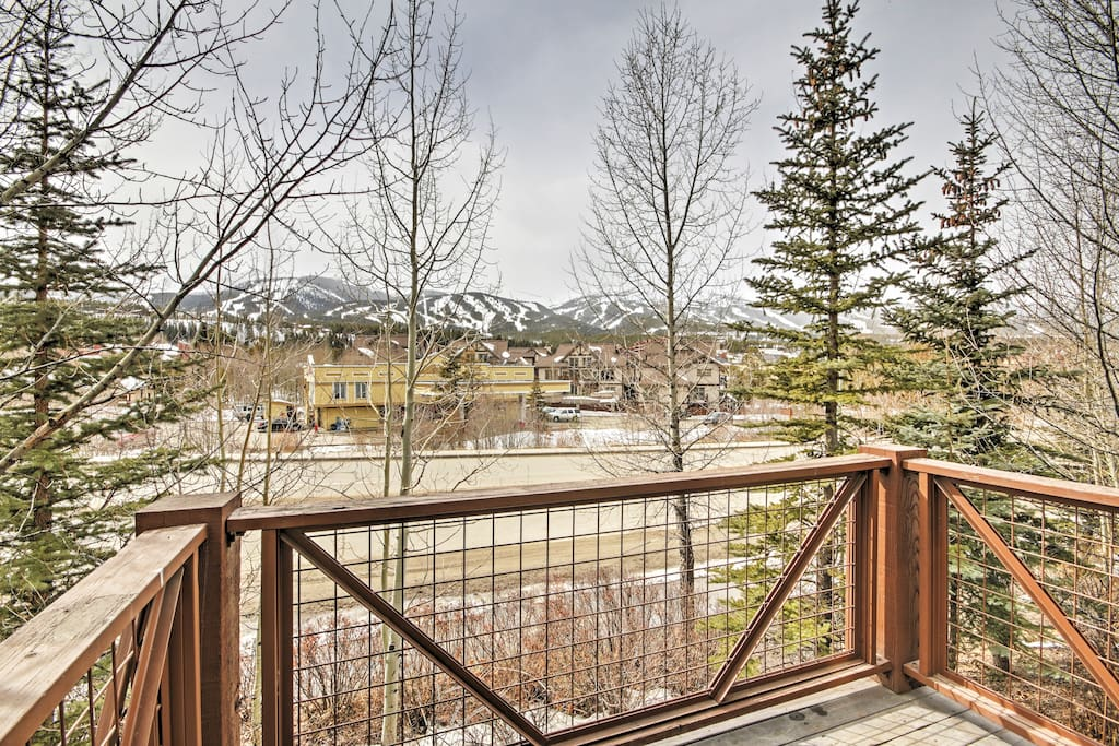 Enjoy beautiful views of the ski slope while you unwind on the private deck.