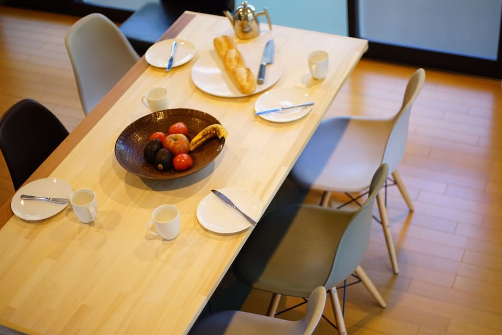 Modern dining table on casters