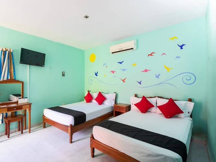 Standard Double Room- 2 beds at Hacienda Bacalar