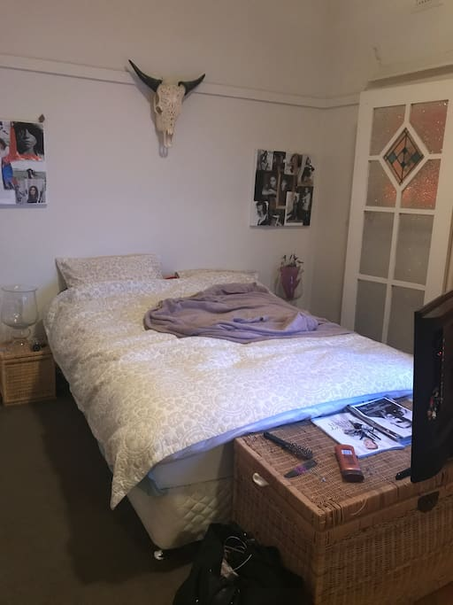 Large queen size bed with tv