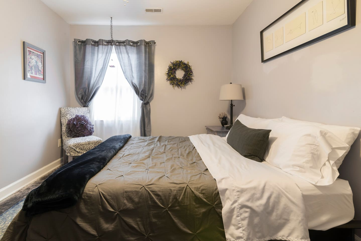 Spacious private queen room, with private entrance - room is separate (mother in law suite) from host- guests have private entrance, private bathroom and private patio.