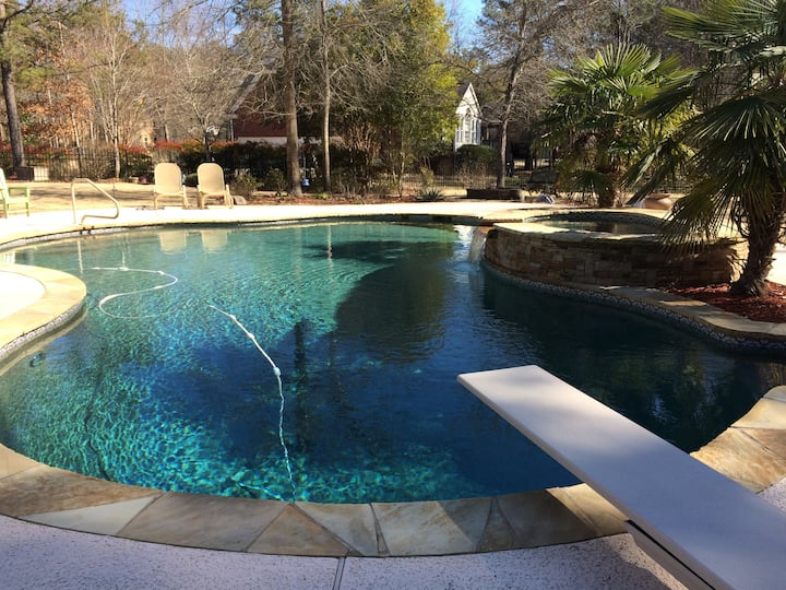 Private room with walk out basement and pool.