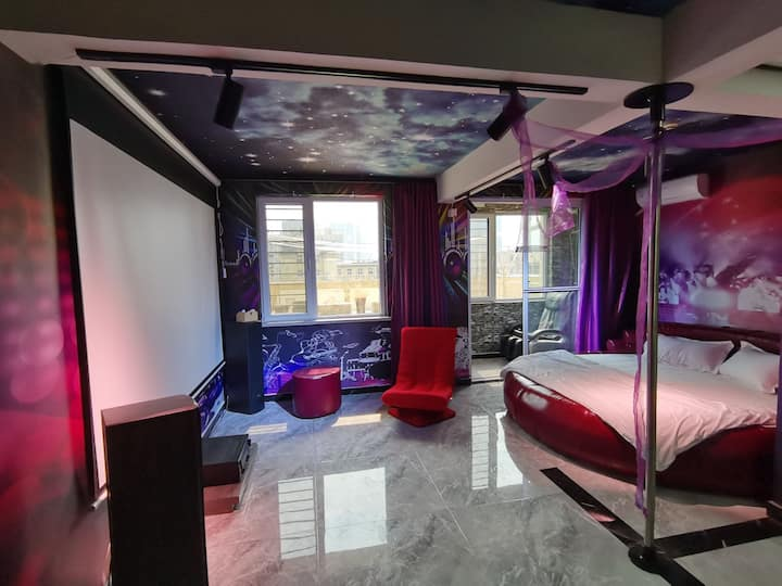 英国SM电动床星空顶按摩椅私影豪华双人房