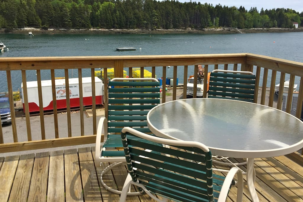 Seating for 4 with great views of Quahog and Casco Bays