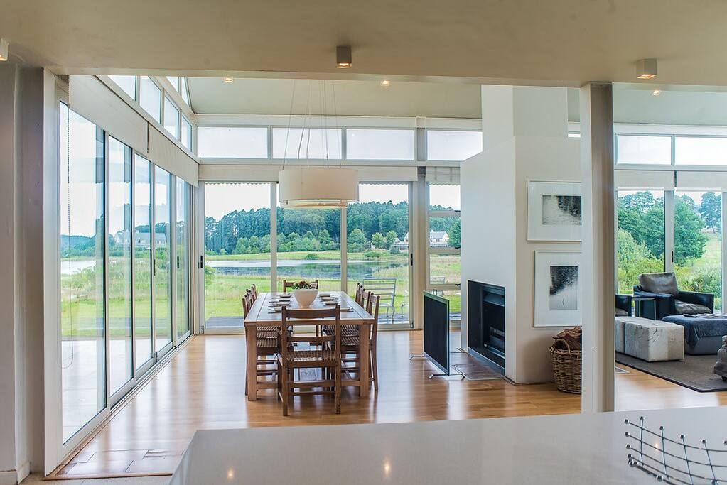 Open plan living makes ease, connection and comfort. The living area engages with the outside while keeping you warm inside.