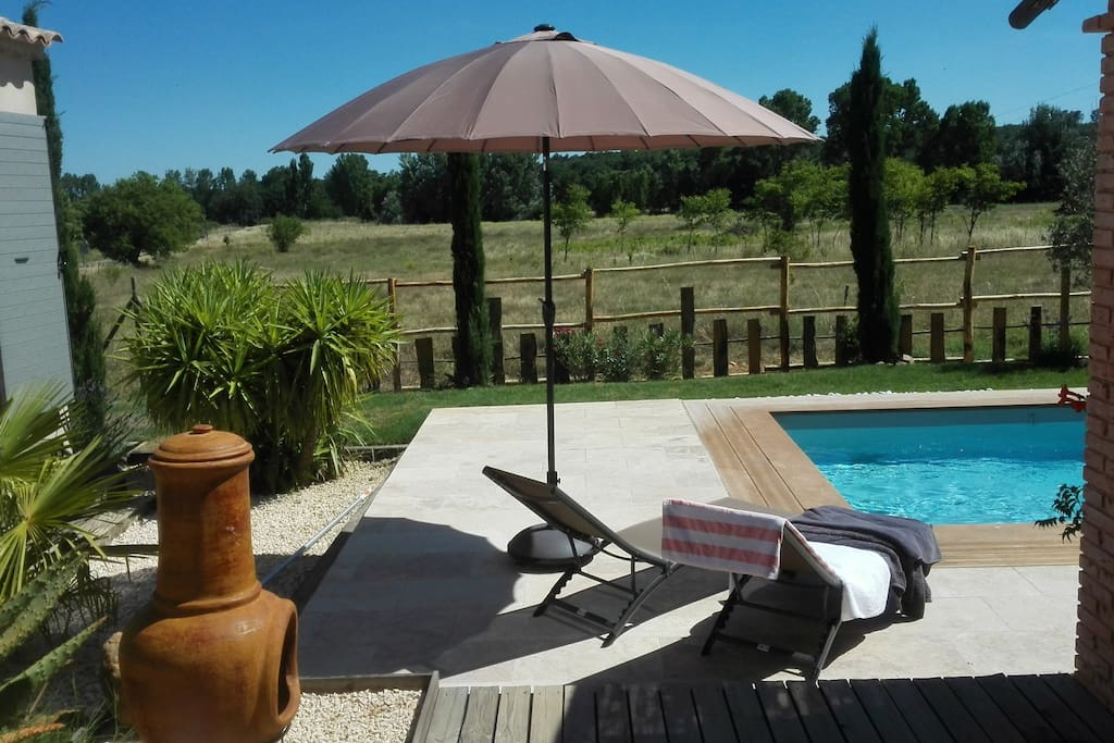 The saltwater pool overlooks the Provencal countryside.