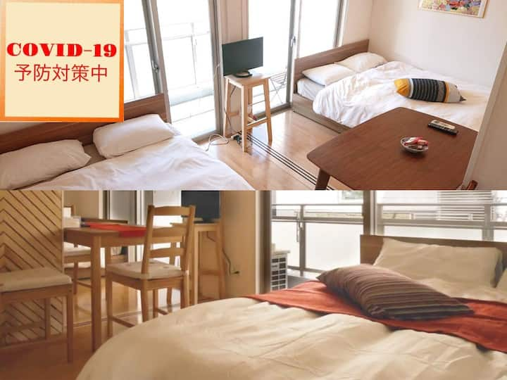 No.9 Cap 8ppl (2 rooms)!  5min from Canal city